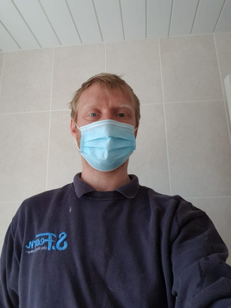 Steve The Plumber Wearing Corona Virus Personal Protective Equipment