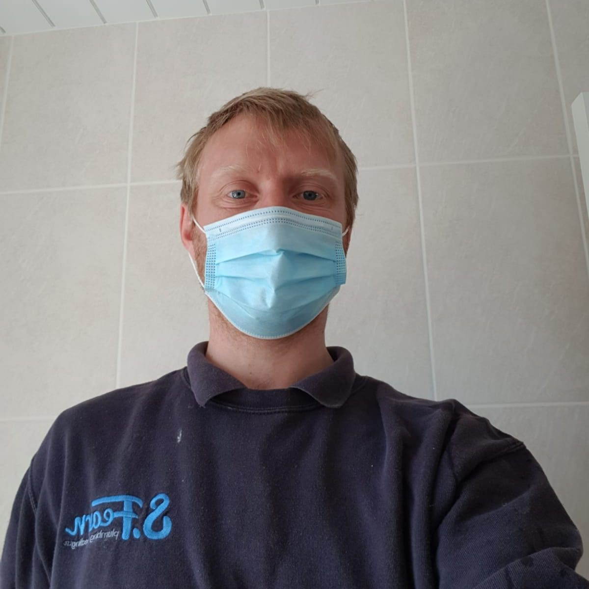 Steve The Plumber Wearing Corona Virus Personal Protective Equipment